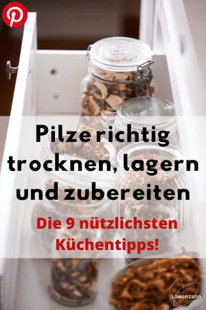 Pilze richtig trocknen, lagern und zubereiten