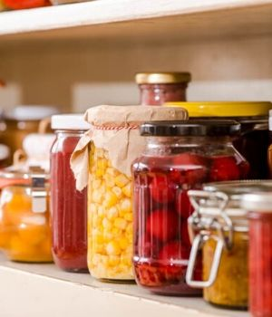 Eingekochtes Obst und Gemüse in Gläsern