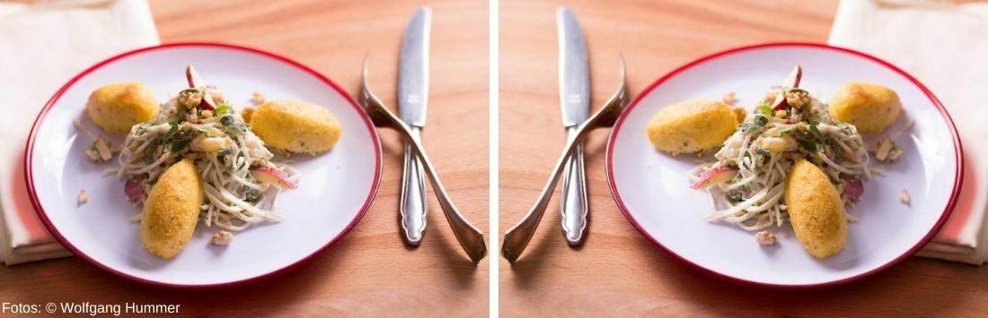 Knusprige Polentanockerl mit cremigem Sellerie-Apfel-Nuss Salat
