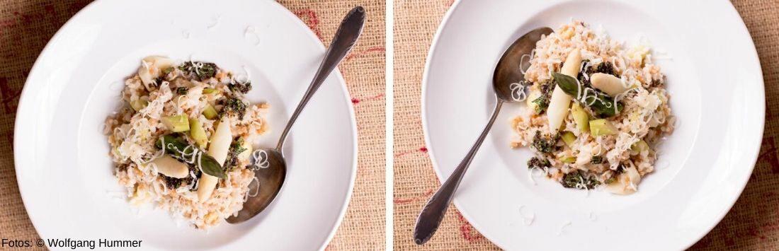 Risotto mit Spargel und Zitronen-Mohn-Gremolata