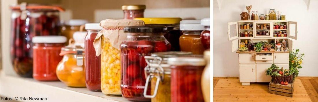 Vorratsschrank mit haltbar gemachtem Obst und Gemüse