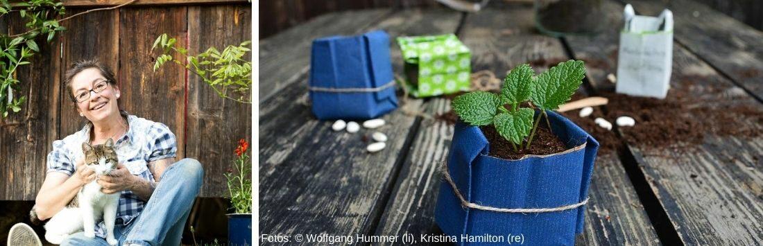 Kristina Hamilton und Setzlinge im selbstgemachten Kartonbehälter