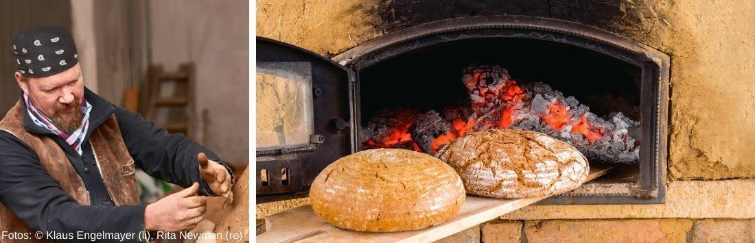 Bernhard Gruber und Brot aus dem selbstgebauten Backofen
