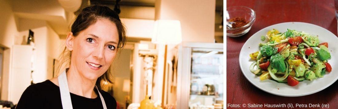 Petra Denk in der Küche und Rohkostgericht