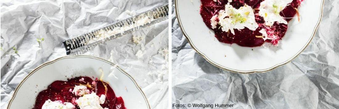 Rote-Rübe-, Meerrettich- und Burrata-Salat