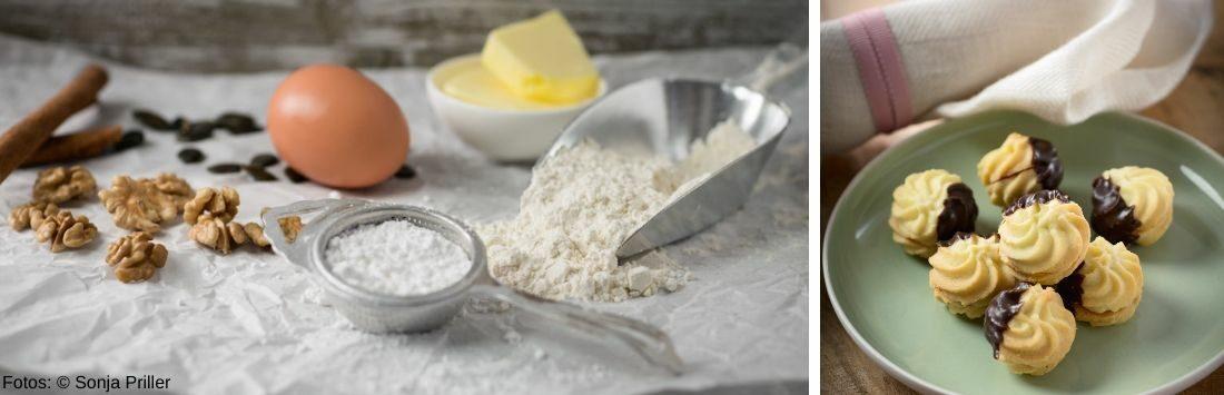 Zutaten für Spritzgebäck und fertige Kekse