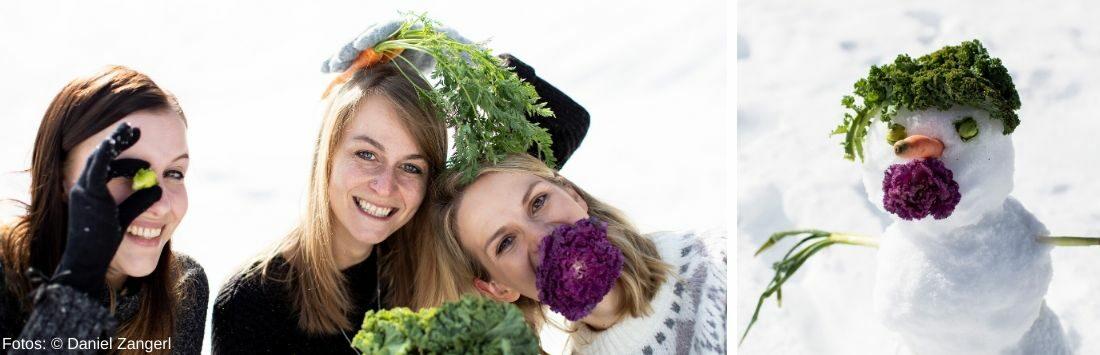Frauen mit Gemüse und Schneemann