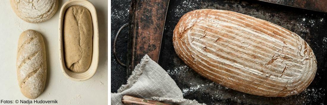 Brotteig und selbstgebackenes Brot