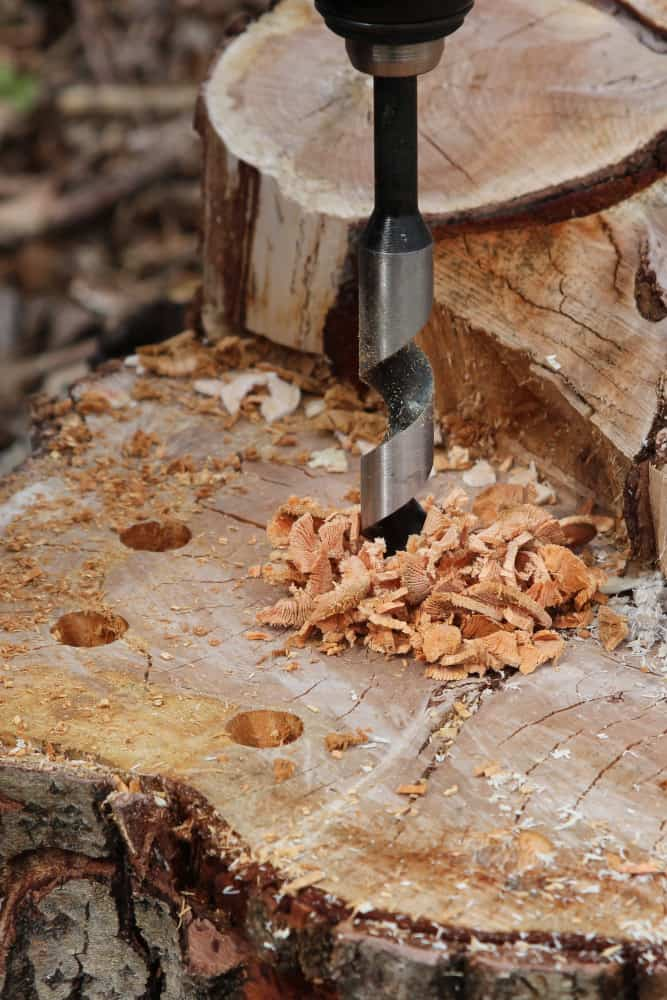 Löcher in das Holz bohren