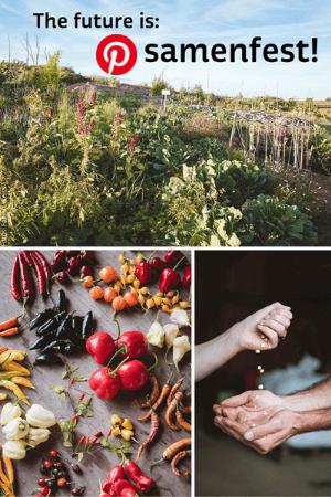 Permakultur, Gemüse und Hände mit Samen